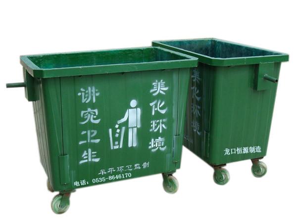 四轮移动玻璃钢垃圾箱